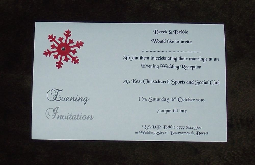 Wedding Invitation Day Evening Postcard Style Winter Snowflake Design Various Colours X10